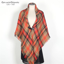2017 Women Blanket Oversize Tartan Scarf Wrap Showl Plaid Cozy Checked Pashmina scarf luxury brand