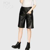 Elastic Waist Black Genuine Leather Real Lambskin Knee Length Wide Leg Pants Trousers Plus Size Broeken