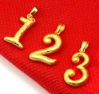 Горячие продажи нового чистого 24 К желтый золотой кулон/3D Craft счастливое число 3 кулон/1.68 г