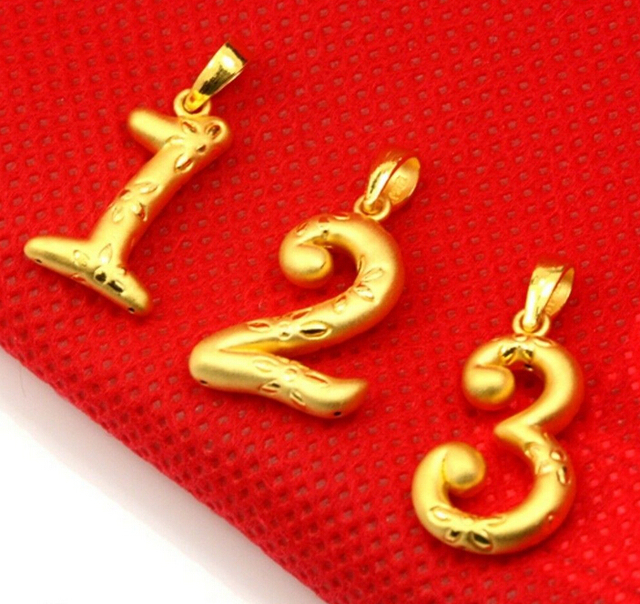 Hot sale new pure 24k yellow gold pendant 3d craft lucky number hot sale new pure 24k yellow gold pendant 3d craft lucky number 3 pendant mozeypictures Images