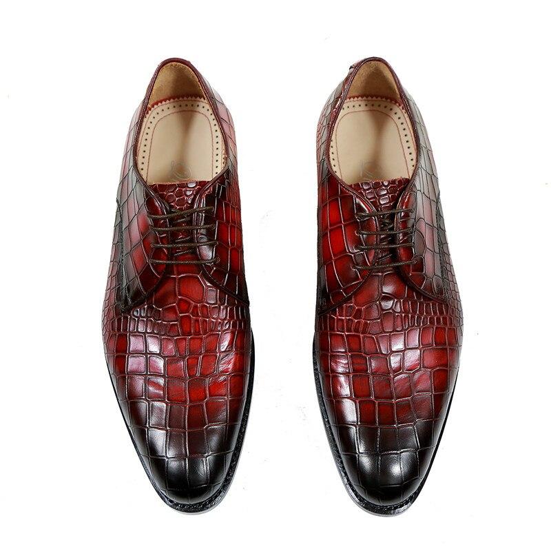 Vin Hommes Rue Bourgogne Lace Exquis Boîte Robe Qianruiti Cuir Chaussures Vintage Avec up Rouge Style Pantoufle Alligator En Oxfords TWwYqRd