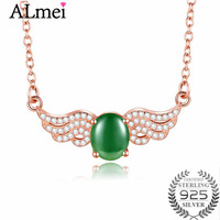 Almei 2.5ct Rose Gold Color Beard Green Jasper Angel Pendant Clavicle Necklace 925 Sterling Silver Jewelry with Box 40% FN085