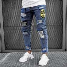 Новые мужские узкие обтягивающие джинсы на молнии эластичные рваные байкерские джинсы с вышивкой