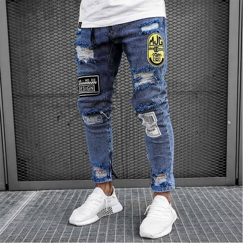 New Men's Zipper Slim Skinny Jeans Stretchy Ripped Biker Embroidery Print Destroyed Jeans