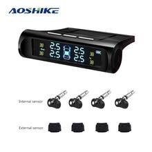 AOSHIKE Car Tire Pressure System TPMS Digital LCD Display Solar OR USB Car Wireless 4 External Internal Sensor Temperature Alarm цены