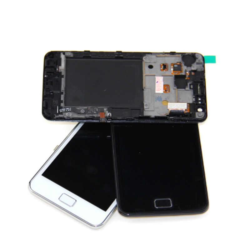 100% Diuji Super AMOLED untuk Samsung S2 I9100 LCD untuk Samsung S2 LCD Layar Sentuh Digitizer Perakitan dengan Frame