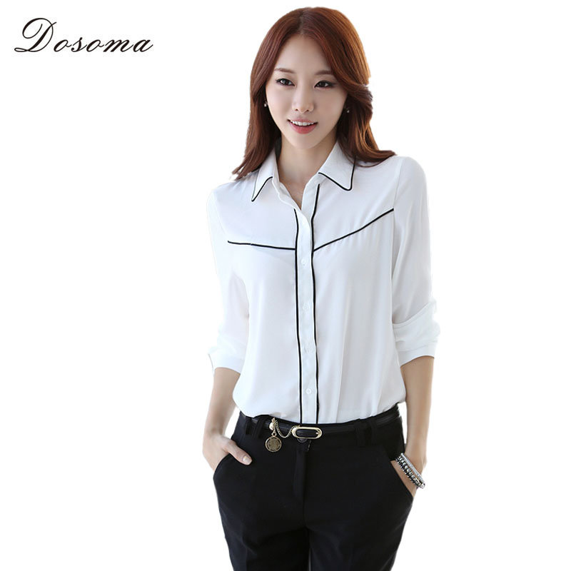 Chiffon Women White Blouses Long Sleeves Plain Shirt Female Cotton ...