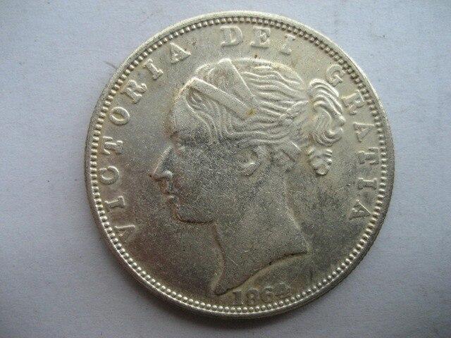 1864 inggris 1/2 CROWN copy koin