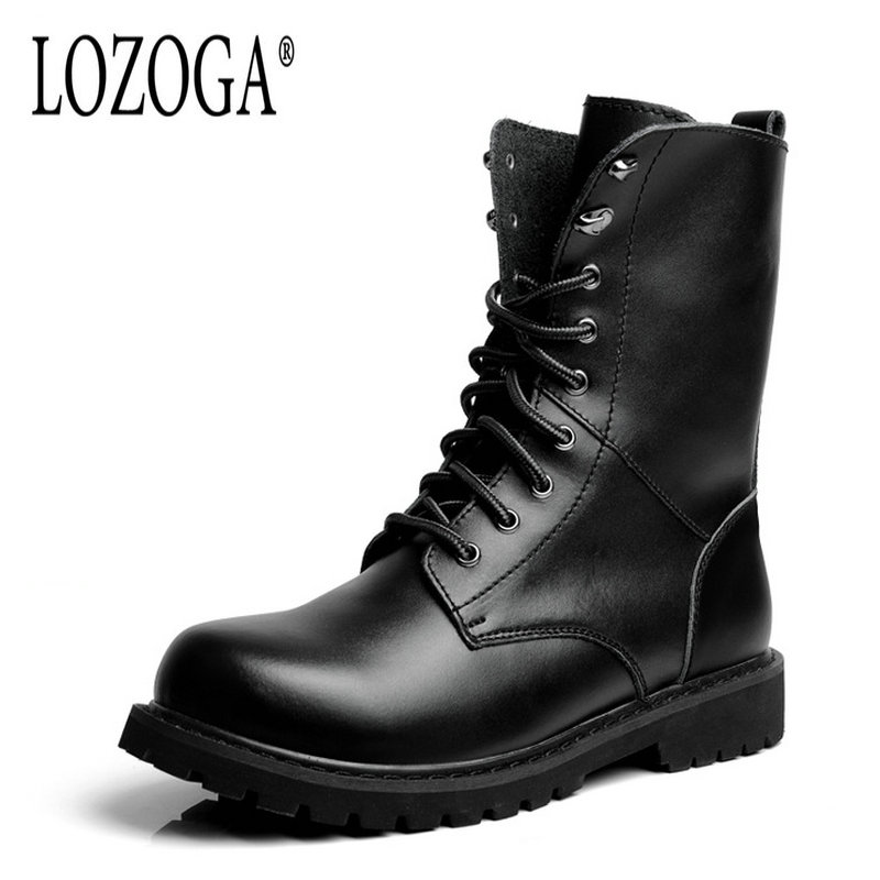2017 New Men Boots Large Size Winter Boots High Quality Leather Casual Shoes Lace-Up Man Mid-Calf Boots Martin Boots Round Toe high quality full grain leather and pu martin boots size 40 41 42 43 44 zipper design lace up decoration round toe boots