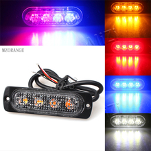 Amber Red Blue White 12V 4 Led Police Strobe Warning Light Truck Car Beacon Lamp Grille Flashing Light bar Traffic light vsled 8 x 4 led emergency lights grill light car truck beacon light bar flashing strobe warning amber white led lightbar
