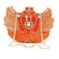 Золотой кристалл вечерняя сумочка; BS010 животных Лебедь дамы кошелек партии сумка Ежедневные клатчи Свадебный клатч для праздника алмазов Б...