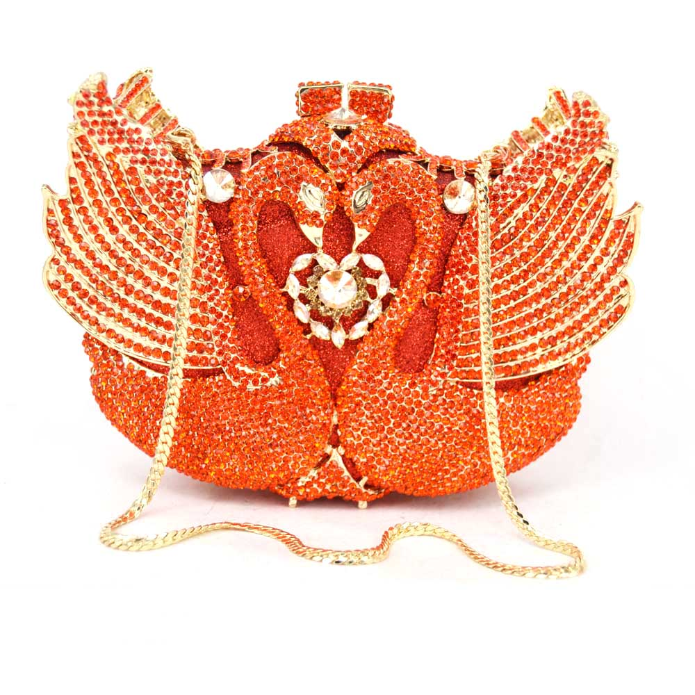 Gold Crystal Evening Bag Animal Swan Ladies Purse Party Bag Day Clutches Wedding Clutch Bag for Feast Diamond Banquet bag 88171 free shipping a15 36 sky blue color fashion top crystal stones ring clutches bags for ladies nice party bag
