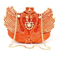 Oro Bolso de Noche de Cristal Cisne Animales Señoras Del Partido Del Monedero Embragues Del día Diamante del Banquete Del bolso de Embrague Bolsa de Fiesta de La Boda 88171