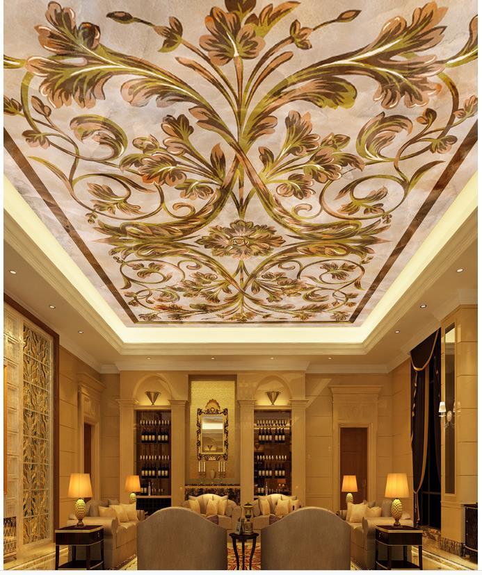 European Marble Ceiling 3d Wallpaper Modern For Living