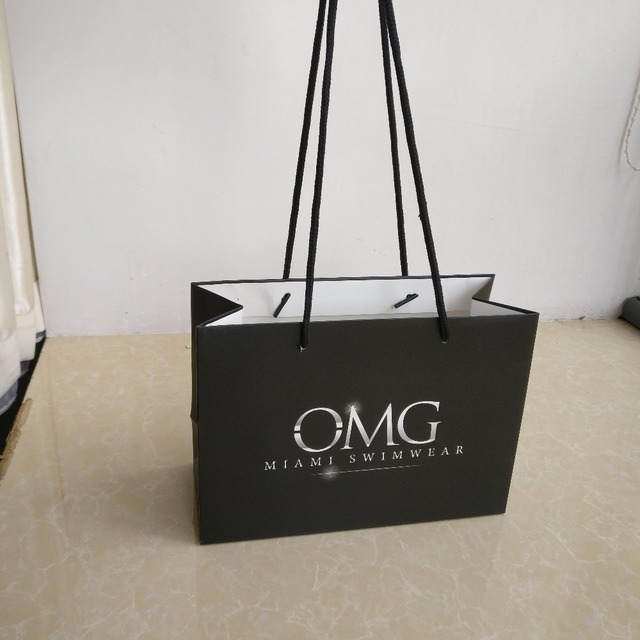 3dfd9e9322f Wholesale 1000pcs/lot custom luxury black paper shopping bags with long handle  customized printing your own logo jewelry bags