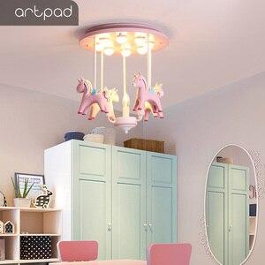 Image 4 - Artpad 素敵な王女樹脂ポニーピンクシーリングライト子供少女の子供ルーム天井ランプ装飾寝室幼稚園ねえや