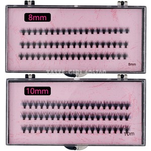 Image 5 - Groothandel 60 packs/lot Pro 57 Knopen 20 Haren Black Individuele Valse Wimpers Eye Lash Make Extension Kit 8mm 10mm 12mm 14mm