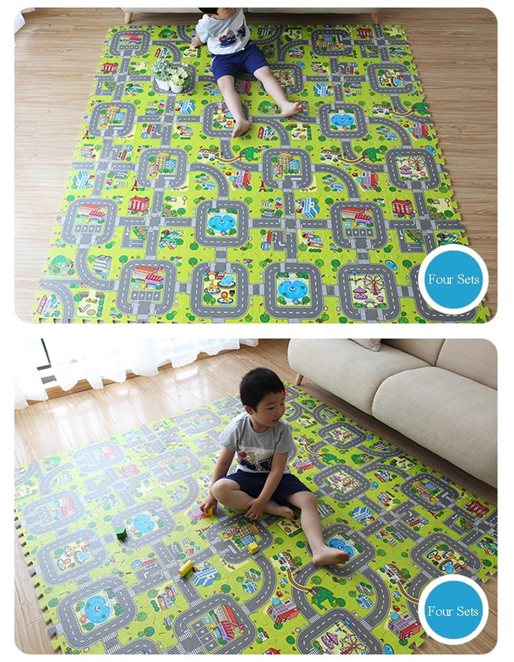 Baby EVA Foam Puzzle Play Floor Mat City Road Education Carpets Interlocking Tiles Kids Traffic Route Ground Pad (No Edge) NEEU