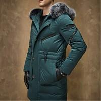 Новое поступление Зима Для мужчин с длинным утолщение белый гусиный Подпушка куртка молодой мужчина Большие размеры Модная одежда пальто р...