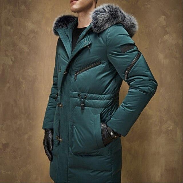 Новые Приходят Зимние мужские Длинные Утолщение Белый Гусиный пух Куртка Молодой Мужчина Большой Ярдов Мода Одежда Пальто Роскошный пальто