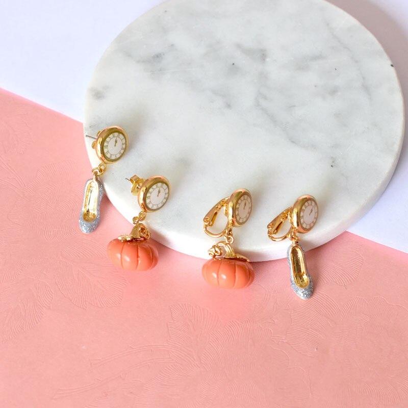 Warmhome Trendy Jewelry French Enamel Glaze Fairy Tale Series Clock Pumpkin Shoes For Women Earrings