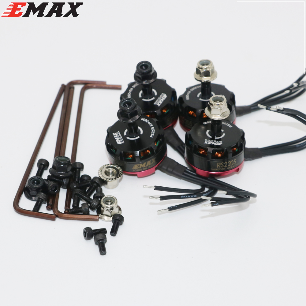 4 set/lot Original Emax RS2205 2300KV 2600KV Motor sin escobillas para FPV Racing modelos de carrera de 2 CW/2 de la Convención al por mayor Dropship