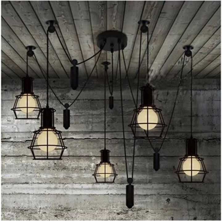 Vintage industrial Nordic Loft Edison Bulb Chandelier Retro Ceiling Spider Pendants Antique Adjustable E27 indoor Art Lights nordic vintage chandelier lamp pendant lamps e27 e26 edison creative loft art decorative chandelier light chandeliers ceiling