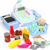 Kids Plastic Supermarket Cash Register Electronic Toys With Foods Basket Money Children Early Education Pretend Play