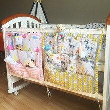 Cute Cartoon Crib Bedding Cotton Crib Storage Bag Multi Layer Multifunctional Bed Storage Bags Baby Bed Bumper