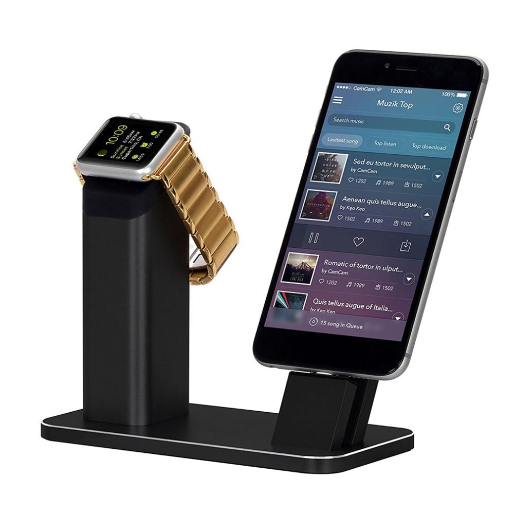 Modern Tasarım Alüminyum Alaşım Cep Telefonu Şarj Tabanı Iwatch Için Apple Için Cradle Şarj Dock Şarj Standı Metal Toptan