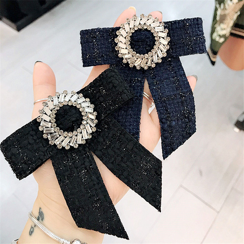 Korea Handmade Vintage England Academy Fabric Rhinestone Shirt Pin Neck Bow  Tie Apparel Accessories Fashion Jewelry YHNLB005F-in Brooches from Jewelry  ... 26e7e34e5959