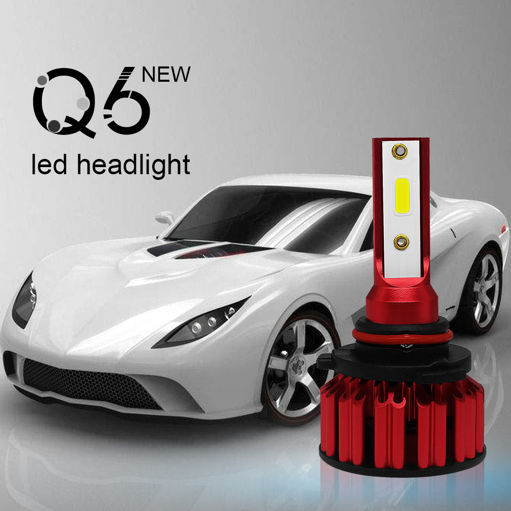 2Pcs Q6 Car LED Headlight Kit H11 9006 9005 H4 <font><b>H7</b></font> 50W <font><b>30000LM</b></font> 6000K Bright DOB LED Headlight Bulbs Kit Lamp image