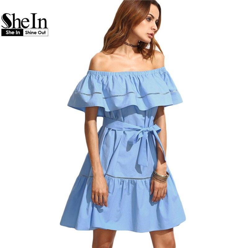 Shein verano vestidos para mujeres ropa  azul lazo de la cintura hueco de inserc