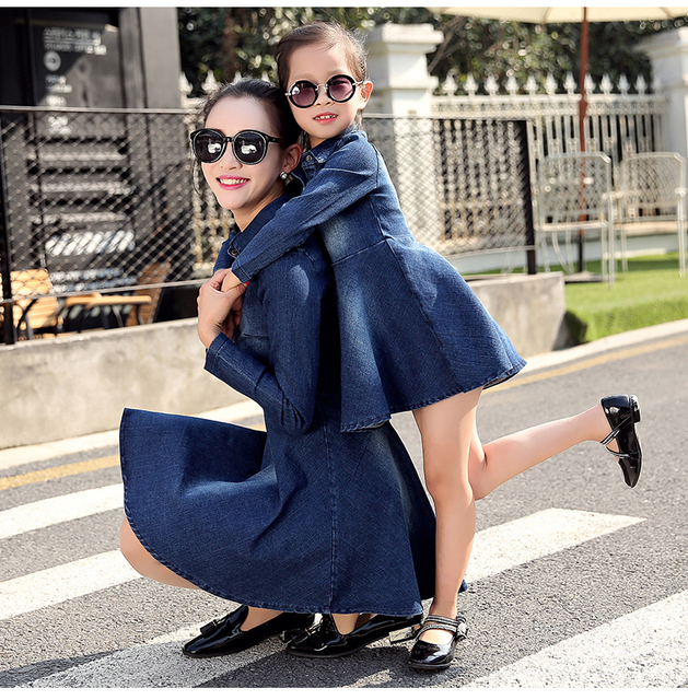 f5cec1987d Girl Spring Denim Blue Dress for Kids Women Jeans Dresses Tutu Cute  Beautiful Jean with belt Family matching outfits clothing
