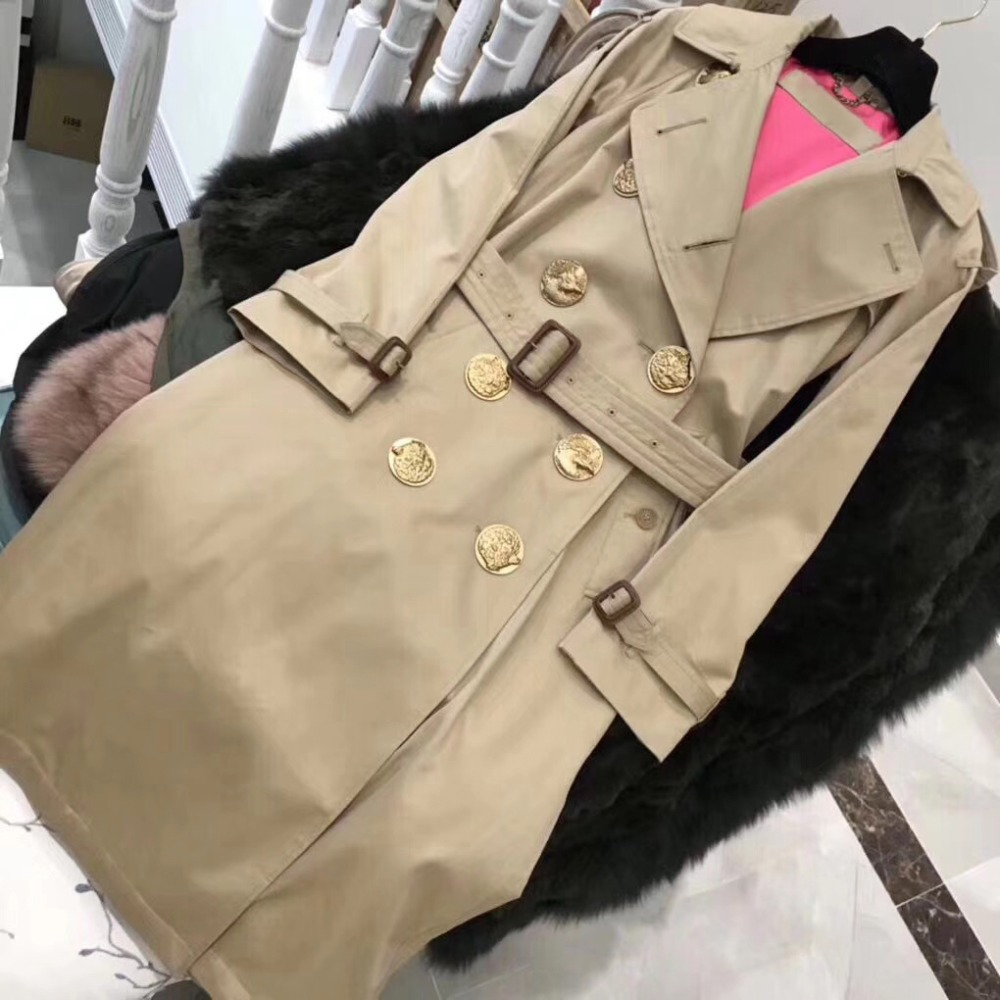 top original quality trench coat for women limited edition manteau long femme amazing 18k gold plated buttons manteau femme