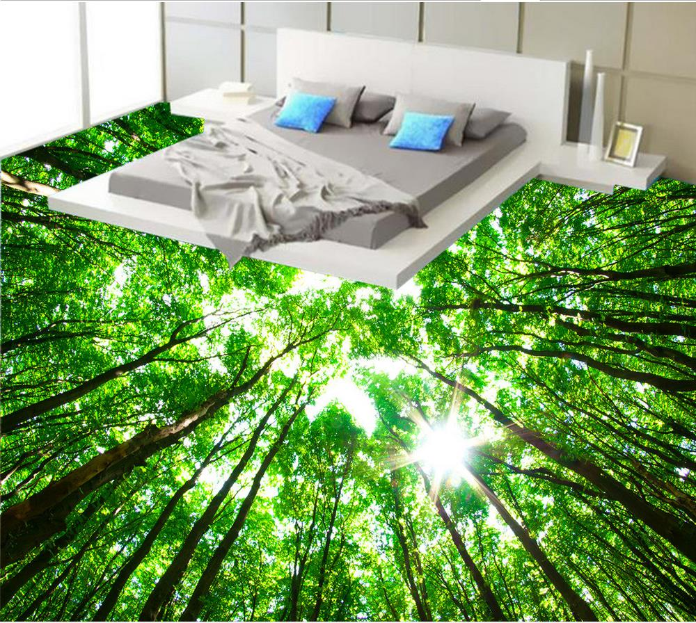 Green Forest Bathroom 3d Wallpaper Floor Custom Photo