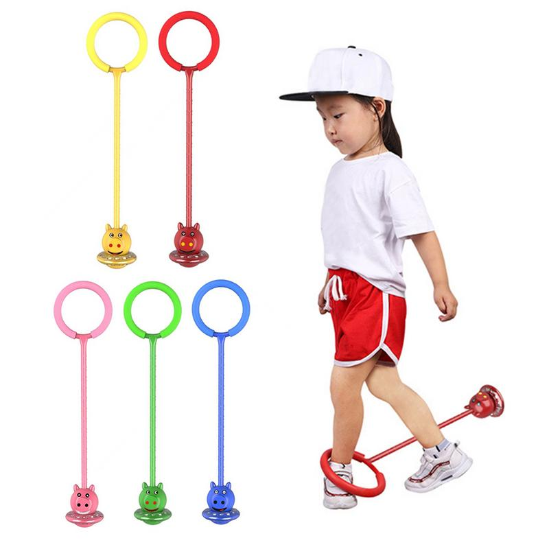 Flashing Jumping Ball Outdoor Fun Sport Toy One-legged Piggy Jump Ball Kid Sport Movement Ankle Skip Color Rotating Ball