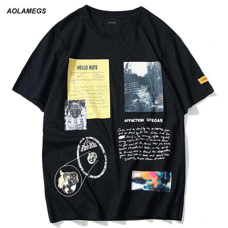 Aolamegs Men T Shirt Picture Printed Letter Men's Tee Shirts O-neck T Shirt Short Sleeve Fashion High Street Tees Streetwear