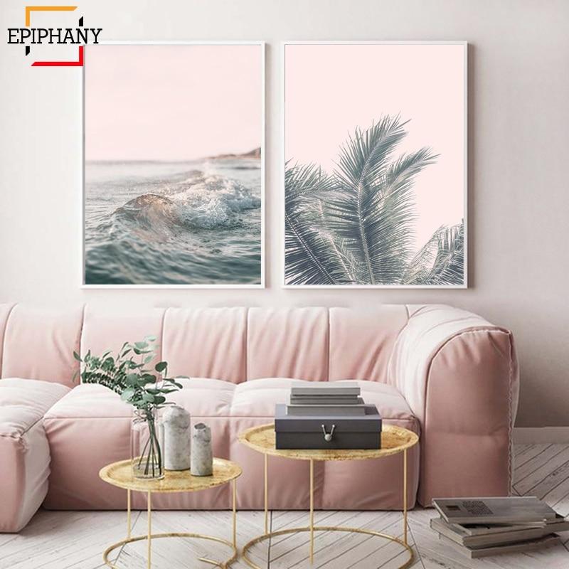 Blush Pink Wall Art Palm Leaf Canvas