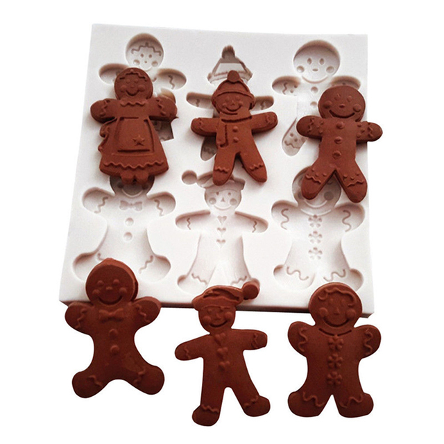 Us 2 43 5 Off Happy Christmas Gingerbread Man Silicone Mold Fondant Chocolate Molds Mould Cake Decorating Tools Navidad Kitchen Baking In Cake Molds