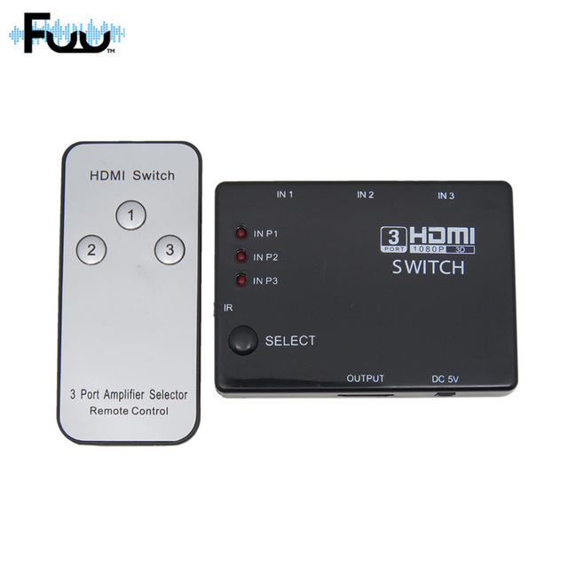 HDMI Verdadera Matrix 3/5 Port Switch HDMI Switcher HDMI Splitter hub box para ps3 hdtv dvd xbox 360 hzsp093 remoto inalámbrico por infrarrojos