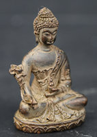 60MM/2.4 Collection Chinese Bronze Exquisite Tantra Buddhism Shakyamuni Menla Medicine Buddha Medical God Statue Statuary 147g