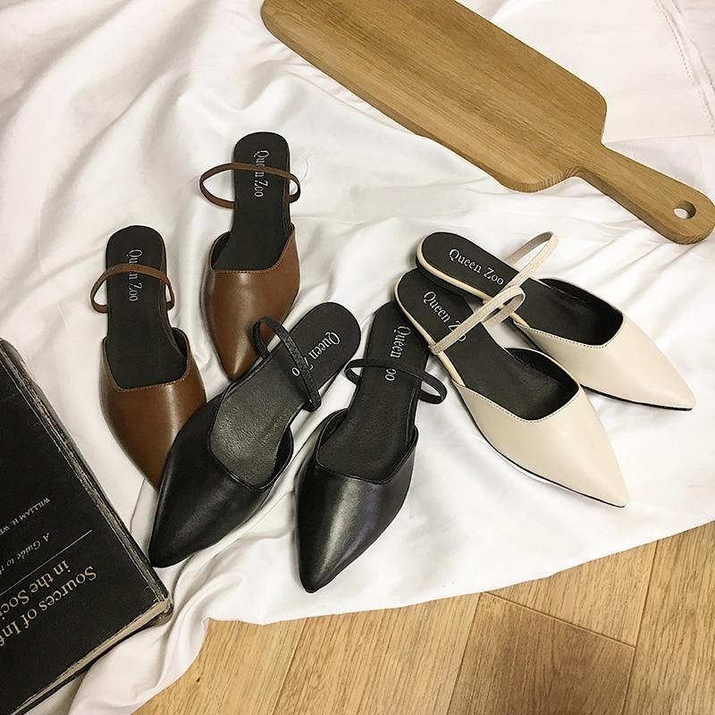 2019 Neue Frauen Sommer Herbst Korea Pu Flachen Sandalen Spitz Flache Ferse Flach Outdoor Slip-on Hausschuhe Größe 35-39 6q1680 StraßEnpreis