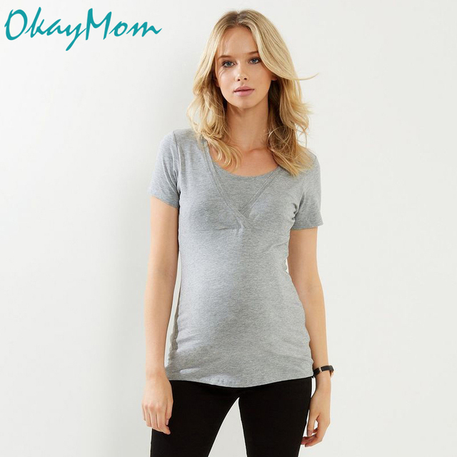 9e8821ced5f24 OkayMom Cotton Maternity Nursing T-shirt Breastfeeding Top Tees Clothes For Pregnant  Women Pregnancy Nurse Wear Clothing Summer