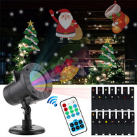 Outdoor Moving Snowflake Laser Projector Lamps 12 Cards Christmas LED Light Waterproof Garden Landscape Decor Lamps Stage Lights