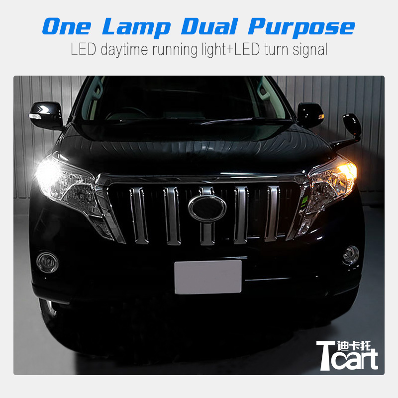 Tcart Car DRL Daytime Running Lights White+Yellow WY21W 7440 Turn Signals LED Bulbs For Toyota Prado 150 2014 2015 2016 2017Tcart Car DRL Daytime Running Lights White+Yellow WY21W 7440 Turn Signals LED Bulbs For Toyota Prado 150 2014 2015 2016 2017