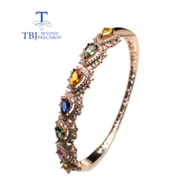 TBJ,classic style natural fancy color sapphire gemstone bangle 925 silver fine jewelry for woman as anniversary wedding gift