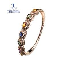 TBJ, klassische stil natürliche phantasie farbe sapphire edelstein armreif 925 silber edlen schmuck für frau als jahrestag hochzeit geschenk