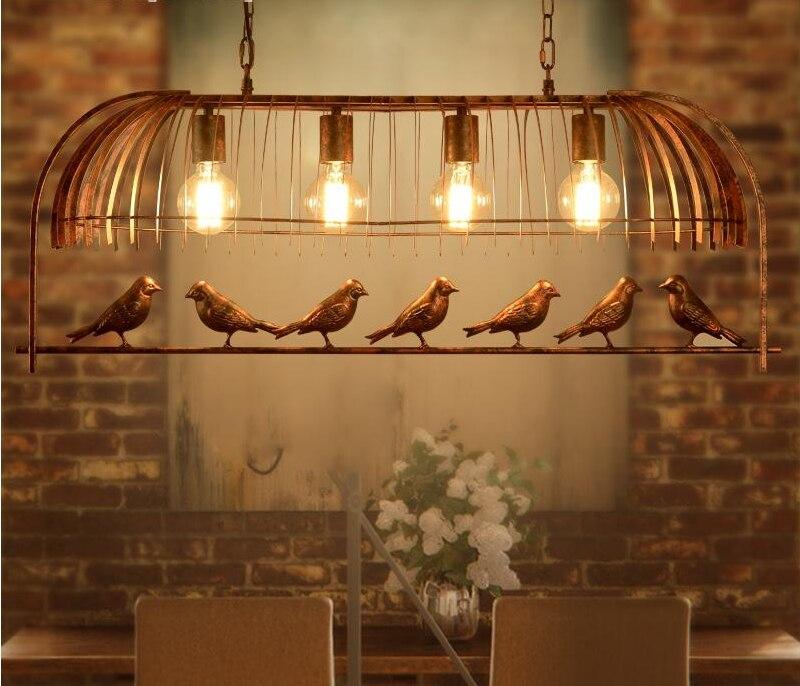 Винтажный железный подвесной светильник Американский промышленный Лофт Бар Кафе птица Декор подвесной светильник Lamparas блеск 4 головки клетка лампа