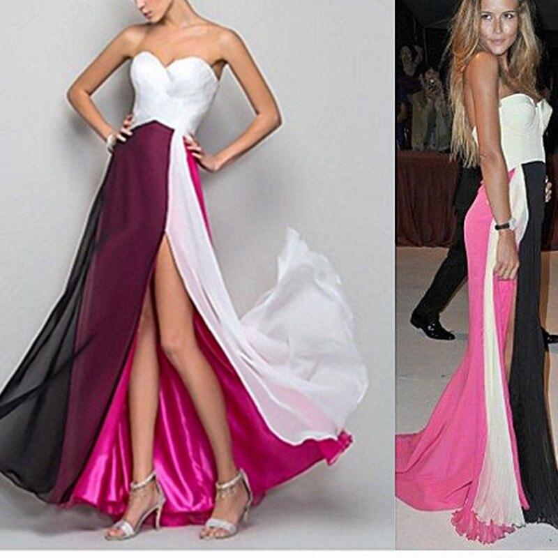 Fucsia Color de La Mezcla de moda Blanco Negro Sexy Vestidos de Noche 2016 Largo Vestidos